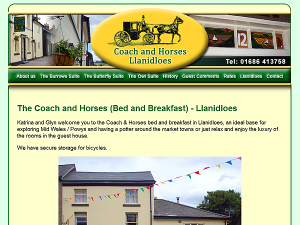 Coach and Horses Bed and Breakfast in Llanidloes Powys  - Website design