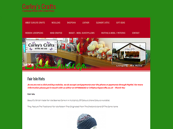 Curleys Crafts - Website Design - Llangurig, Powys