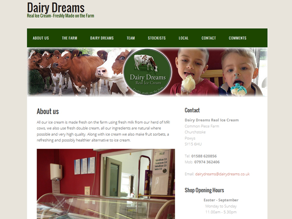 Dairy Dreams Icecream of Churchstoke - Website Design