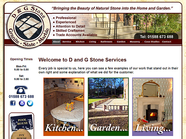 D and G Stone Services in Craven Arms - Website Design