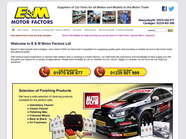 Online Shop E and M Motor Factors - Aberystwyth / Cardigan - Websites