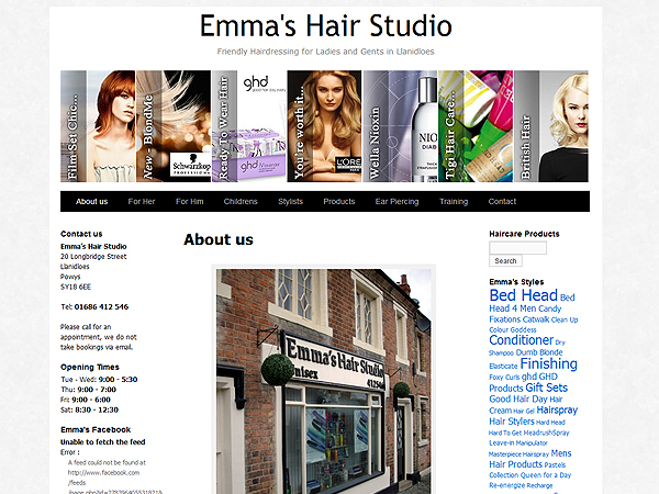 Emmas Hair Studio - Website Design - Llanidloes, Powys
