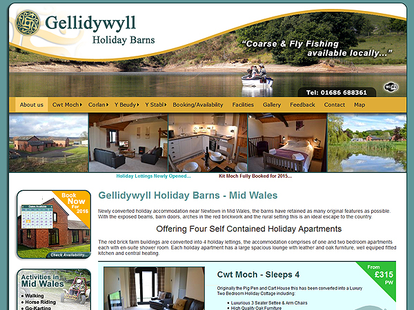 Gellidywyll Holiday Barns - Holiday Letting Website Design