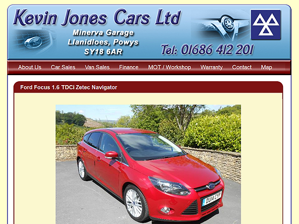Kevin Jones Cars - Website Design - Llanidloes, Powys