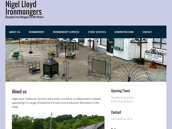Nigel Lloyd Ironmongery Blacksmiths - Website Design - Mid Wales