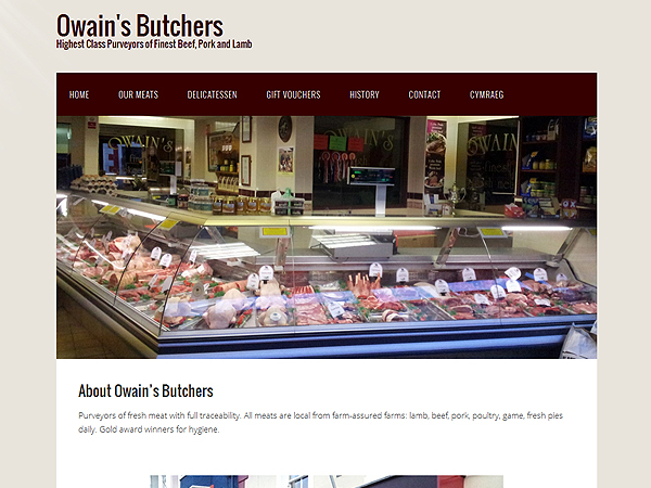 Owains Butchers - Wordpress Website