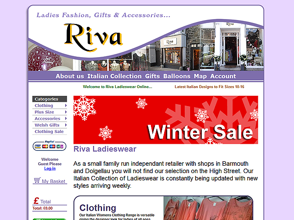 Online Shop for Riva Ladieswear - Website Design - Dolgellau / Barmouth