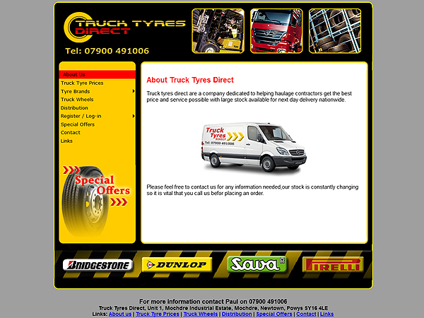 Truck Tyres Direct - Website Design - Newtown, Powys