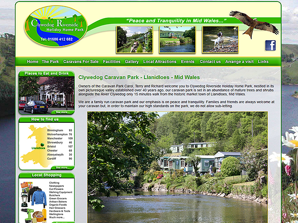 Clywedog Riverside Holiday Home Park - Website Design - Llanidloes