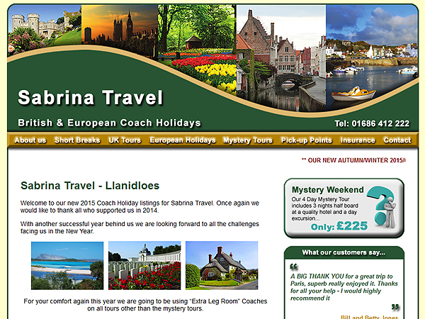 Sabrina Travel - Website Design - Llanidloes, Powys
